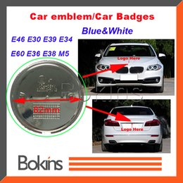 Wholesale 2015 Front Hood Emblem MM For BMW Logo badge decal PIN roundel white blue carbon fiber With EPOXY RESIN SURFACE