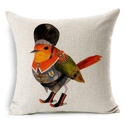Wholesale Graphic design Animated Bird Pillow Cover Cartoon CM Healthy Linen Pillow Cover Decorative cloth art Cushion preferred gift