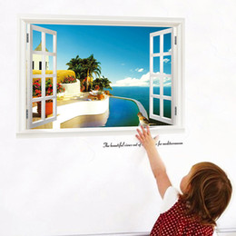 3d sea beach windows wall stickers decals 822. scenery mural art living room home decoration landscape posters 3.0 home decoration
