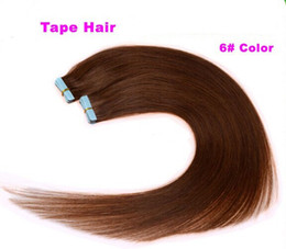 100g=40pcs 18 20 inch 6# light brown Glue Skin Weft PU Tape in Human Hair Extensions INDIAN REMY huge stock 3-5 days delivery