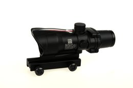 Wholesale Trijicon x32 ACOG Style Optical Tactical Scope Real Fiber Optic Red Crosshair coating Weaver Riflescopes Combat Gunsight For Hunting