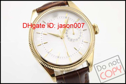 Wholesale Luxury mens new automatic mechanical Date Unworn Gold and Dual Time white watches for men wristwatch brown leather belt high quality