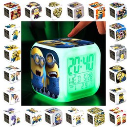 Wholesale 83 Colors Despicable Me D Eye Small Minions LED Colors Change Digital Alarm Clock Thermomete Night Light Up Toys