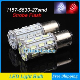 Wholesale New arrival P21 W SMD Strobe Flash LED Brake Lights BAY15D Rear Tail Light Stop Bulbs White Red