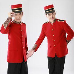 Wholesale-2015 newest modern hotel bellboy uniform doorman uniform free shipping suits for men coat and pants suits