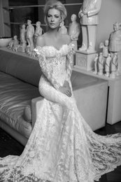2019 Sexy Lace Mermaid Long Sleeves Wedding Dresses Off The Shoulder New Wedding Gowns Sweep Train Dress for Bride