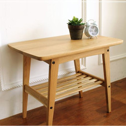 Wholesale Japanese style furniture simple solid wood tea table side table white oak wooden furniture