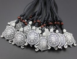 Wholesale 12pcs Lovely Imitation Yak Bone Carving Lucky Surfing Turtles Pendant Necklace Gift MN330