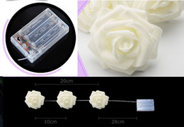 MOQ30 2.2m 20 LED Rose Flowers String Lights Lamps for Christmas Wedding Party Battery Operated Light Lighting Decoration Bulbs Via Express