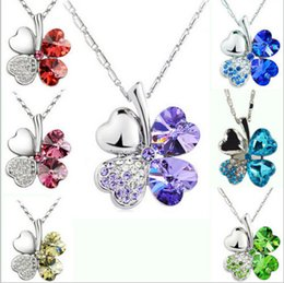 Wholesale Silver Women Happiness Clover Leaf Crystal Pendant Chain Necklace Valentine Gift Brand New Good Quality