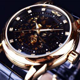 Wholesale 2016 NEW Montre Homme Men Watches Winner Royal Diamond Design Black Gold Watch Top Brand Luxury Relogio Male Skeleton Mechanical Watch