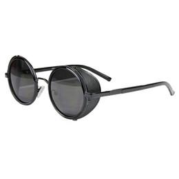 Promotion meilleures lunettes de soleil gros Objectif gros-Meilleur Prix Miroir rond Lunettes Cyber Goggles Steampunk lunettes de soleil Rétro Nov2317