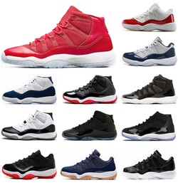 Wholesale 2018 New air 11 High Gym Red Midnight Navy low bred 11S Space Jam unisex Basketball Shoes Athletic Sport Sneakers size 36-47