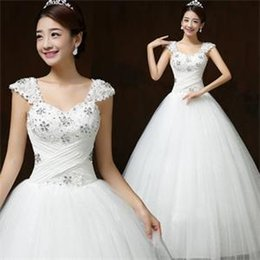 Wholesale 2016 Ball Gown Square Backless Floor length Sleeveless Sequins Crystal Decorate Lace Fabric Korean Style Wedding Dresses B