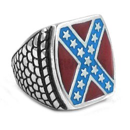 Wholesale Classic American Flag Ring Stainless Steel Jewelry Fashion Star Motor Biker Men Ring SWR0270A