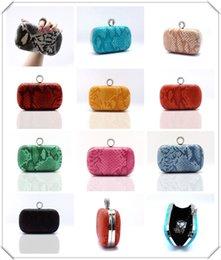 Wholesale Champagne Finger Clutch - free shipping Women's PU Evening Clutch Bag Fashion Snake Print Handbag Finger Ring Evening Bag Party Purse 03876