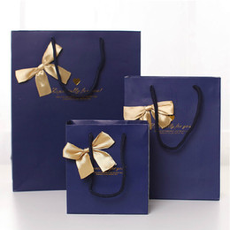Wholesale 17 cm Noble Quality Bowknot Paper Gift Bag Business Gift Favors Wrapping Bag Festive Gift Package Party Supplies WS084