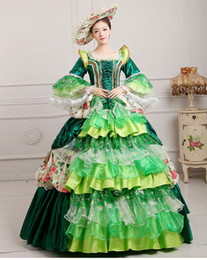 luxury lace ruffled golden blue green pink medieval dress renaissance Gown queen Dress Victorian Marie Antoinette lolita Belle Ball gown