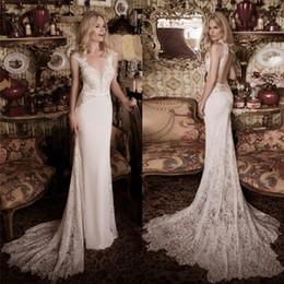 Naama & Anat Lace Wedding Dresses With Train V Neck Sheath Bridal Gowns Sheer Back Floor Length Beach Wedding Dress