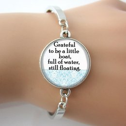 """Glass Dome Bangle Art Picture with Quote """"Grateful to be a little boat,full of water,still floating"""" Silver Metal Bracelet 2016"""