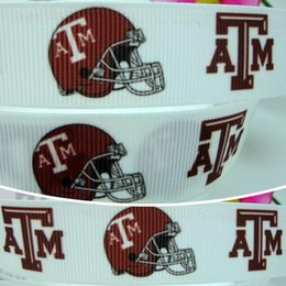 Wholesale 7 quot mm Texas A M School Symbol Sports Football Logo Printed Grosgrain Ribbon for Hair Bow DIY Crafts Party Decos Yards
