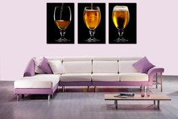 Wholesale Original US high tech HD Canvas Print home decor wall art painting Unframed Drinks Beer Three PC
