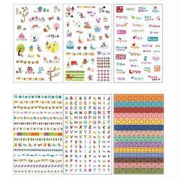 Wholesale 6 Sheets DIY Cute Sweet Cartoon Cat Decorative Scrapbooking Craft Sticker Diary Album Stationery Stickers Adhesive SK03