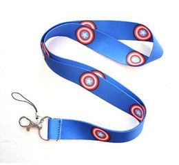 Wholesale wholesalle new Super hero blue Captain America logo neck lanyards mobile key chain straps charms