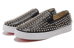 haut de brevet Promotion Livraison gratuite! New arrivel 2017 fashion Black Patent En cuir véritable Black Spike Low Causal Sports Shoes Marque Designer High Top Sneakers