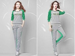 Women o-neck contract color Tracksuit Sport YOGA top+trousers slim Sweat Suit