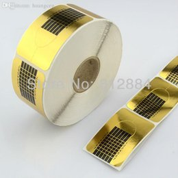 Wholesale-Professional Square Gold Nail Form for Acrylic   UV Gel Nail Extensions Stickers Forms Nail Art Tool T301