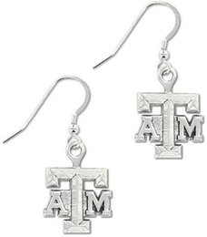 Wholesale 50 Pairs Hook Drop Earrings With ATM Message Sports Team Logo Zinc Alloy Plated Jewelry E102474
