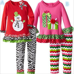 2015 Christmas new girls set T-shirt+leggings with lace children 2pcs suits snowman and gifts print colorful Santa Claus kids clothing BY000