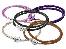 Pulseras de cuero color de la mezcla con 925 corchete de plata cadenas de plata para las mujeres encantos del ajuste DIY perlas colgantes desde broches para los encantos proveedores