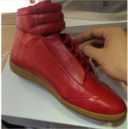 Wholesale 2016 high Quality kanyewest Maison Martin Margiela Casual Shoes trainer shoes Lace Up Flats Men high top Flat Shoes fashion tenis shoes