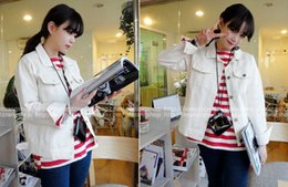 Wholesale-Autumn Winter Woman Denim Jackets Long Sleeve White Jeans Coat Indigo TOM128