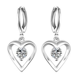 Brand new sterling silver plated Heart-shaped earrings inlaid stone SE626 women's 925 silver Dangle Chandelier wedding gemstone earrings