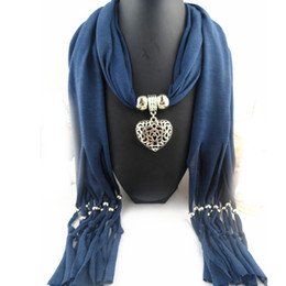 Wholesale DIY Fashion Jewelry Hollow Heart Pendant Necklace Costume Scarf Jewelry Scarf with Tassel Beads AL S261