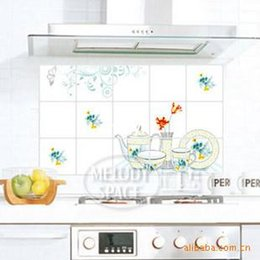 Wholesale 10 home decor oil tea kitchen wall stickers stickers Tile Stickers aluminum Perot anti smoke stickers greaseproof paper