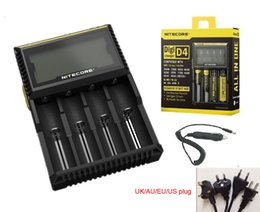 Wholesale New Nitecore D4 Intellicharge Universal Battery Charger For AA AAA WIth Retail box Car Charger