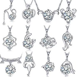 925 silver items crystal jewelry sets statement necklaces twelve constellations horoscope pendant infinity vintage wedding charms