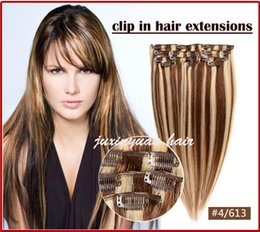"5A 14""- 26"",8pcs Unprocessed Brazilian remy Hair straight clip-in hair remy human hair extensions, 12 colors for choose ,100g set,"
