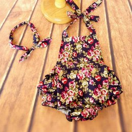 baby clothes Navy Floral bubble romper baby outfit ruffle bottom Rose printed summer newborn outfit romper headband for kids
