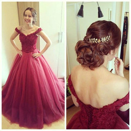 Vestidos Sexy Off the Shoulder Dark Red Prom Dresses Lace Tulle Sweep Train Ball Gown Evening Prom Dresses Formal Long Dresses BO9333
