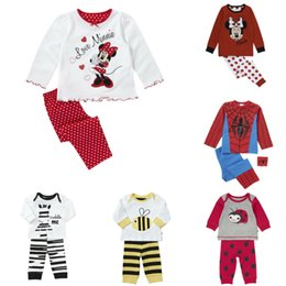 Wholesale-new baby clothing sets cartoon unisex toddler baby girls long sleeve cotton tops t shirt pants 2pcs outfit sleepwear pajama sets