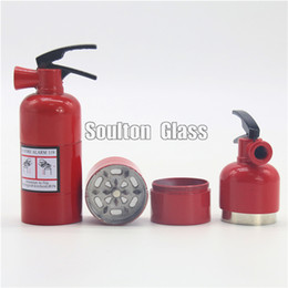 Soulton Glass wholesale magnetic 3 layers fire extinguisher herb grinders for tobacco height 9.2cm diameter 3.2cm grinder tobacco GR-008