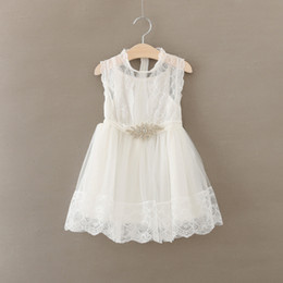 2015 New Children Clothes Girl Dresses Rhinestone Sashes Lace Girl Fashion Sundress 2-7Y