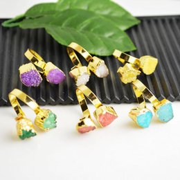 Wholesale Drusy Stone kt Gold Plated Edge Druzy Quartz Bezel Ring in Mixed color Jewelry Finding