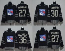 1917-2017 100th Anniversary New York Rangers Jersey #36 Mats Zuccarello #30 Henrik Lundqvist #27 Ryan McDonagh Black Stitched With Patch