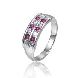 Fashion Hand-made Platinum Plated Rings with Red Corundum or Blue Spinel Stones Elegant Diamond Rings for Women R026